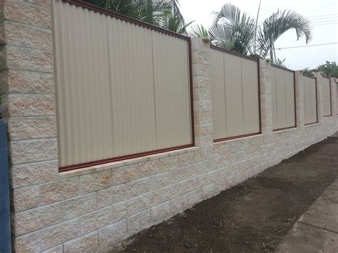 elegant white cement block fence wall  decorated
