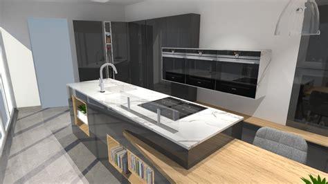 cuisine avec cuisine moderne avec îlot phénix gris anthracite et bois