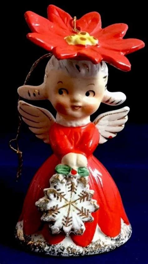 poinsettia bell ornament traditions vintage napco christmas figurines shop collectibles online daily