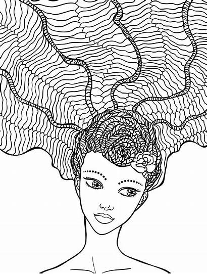 Coloring Crazy Pages Hair Adult Drawing Colouring