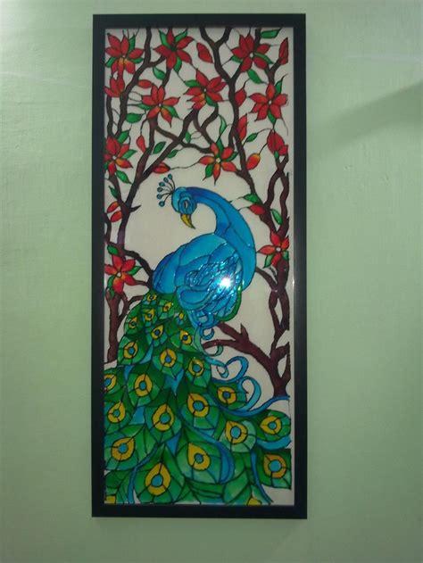 glass painting   peacock  fevicryl hobby ideas