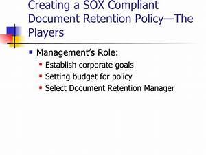 sarbanes oxley primer on document retention policies With document management retention policy