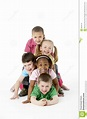 Group Of Young Children In Studio Royalty Free Stock ...