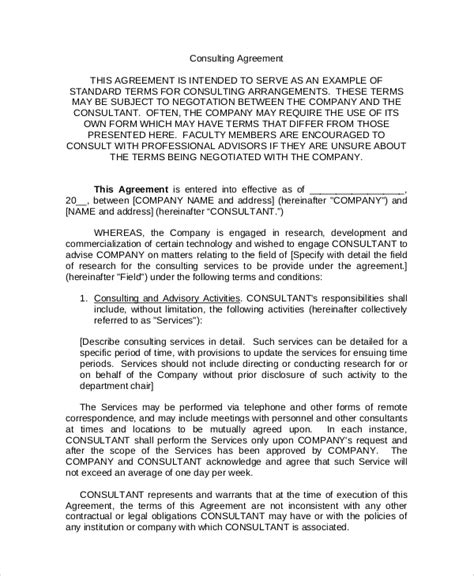 sample standard consulting agreement templates