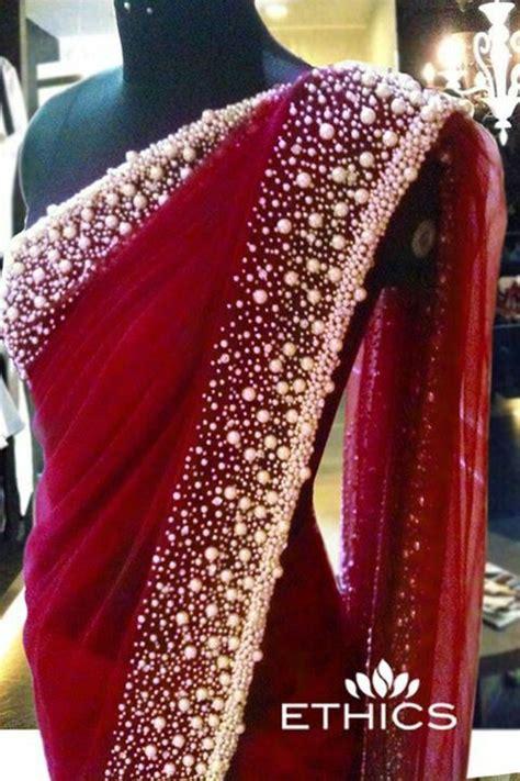 maroon red saree   pearl border bollywood detail