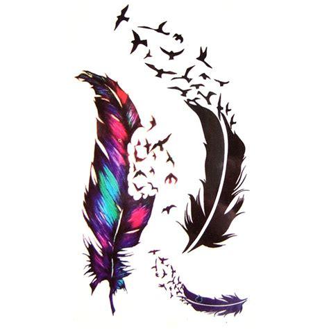 tatouage temporaire plume  oiseau