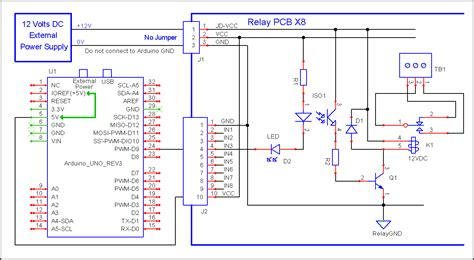 program to 8 channel relay with arduino