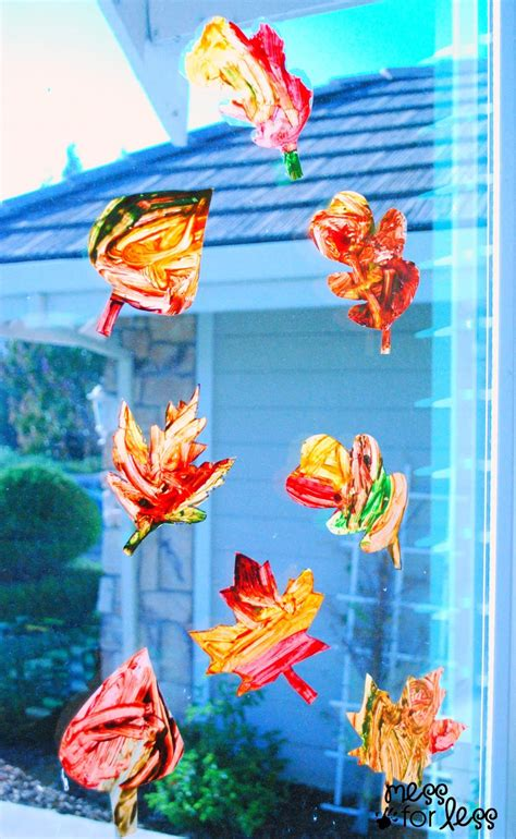 window decorations for fall contact paper window stickers fall leaves mess for less