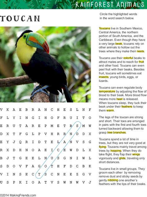 fact sheet  word search  toucan habitat makingfriends