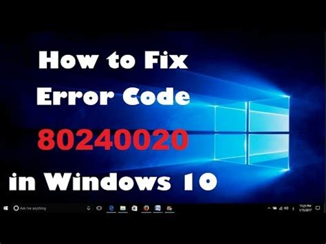 how to fix error code 80240020 in windows 10 failed to update