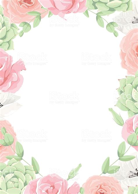 Beautiful Vector Wedding Floral Frame Invitation Template