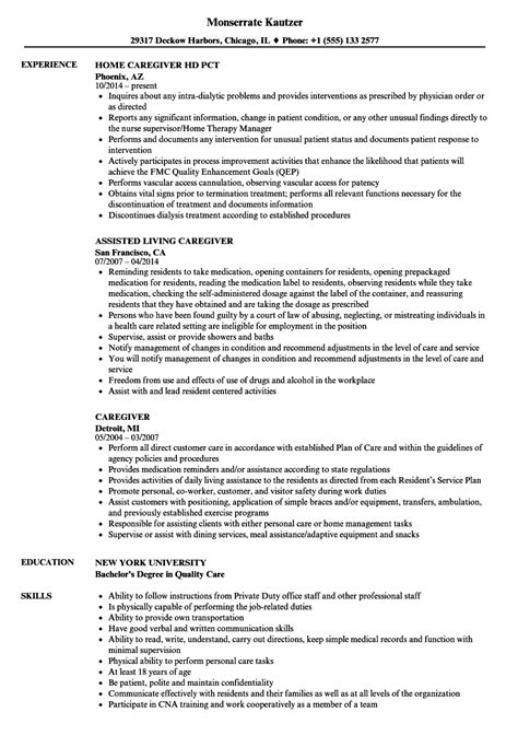 Resume For Caregiver by Caregiver Resume Sles Velvet