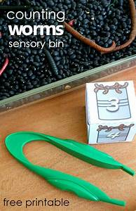 Counting Worms Preschool Math Sensory Bin