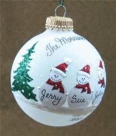 personalized snowman family glass christmas ball ornament fun advisor