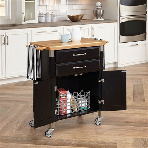 home styles dolly madison black kitchen cart  natural