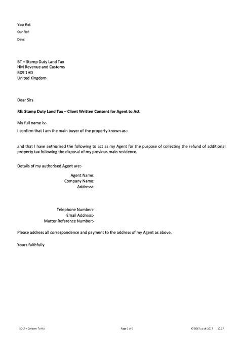 sdlt consent client written consent  agent  act