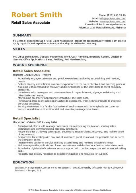 retail sales associate resume samples qwikresume