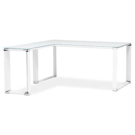 bureau en verre trempé noir bureau d 39 angle design master en verre trempé blanc