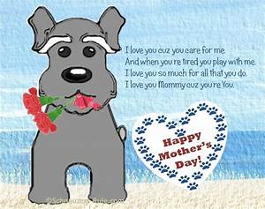 Mother's Day Card from Dog. Cute cartoon Mini Schnauzer ...