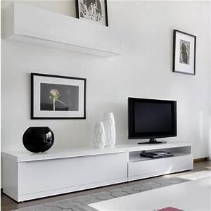 Meuble Haut Salon : meuble de salon mural laqu elvira atylia prix avis notation livraison ce meuble mural tv ~ Teatrodelosmanantiales.com Idées de Décoration