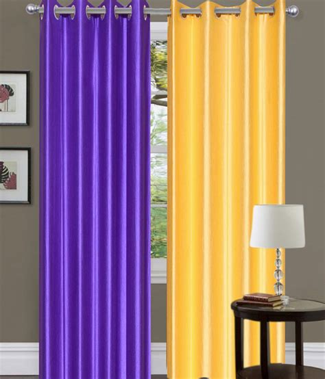 purple and yellow decor brand decor set of 2 door eyelet curtains buy brand decor set of 2 door eyelet curtains online