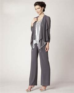 2016 three pieces chiffon sliver sequins long sleeve With dress pant suits for weddings