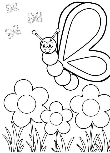 gambar mewarnai bunga dan kupu kupu