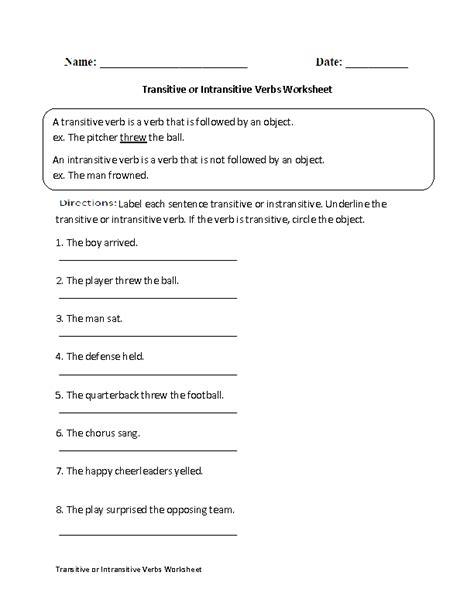 transitive or intransitive verbs worksheet school