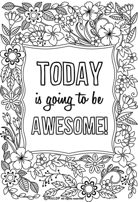 today     awesome flower design coloring page  adults quote coloring pages love