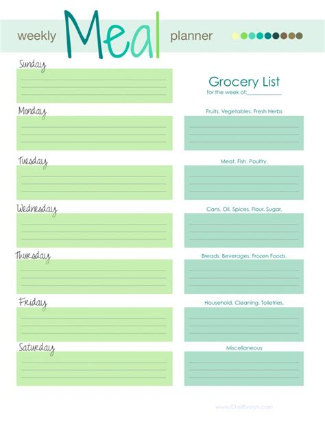 Menu Planning Template Weekly Menu Template