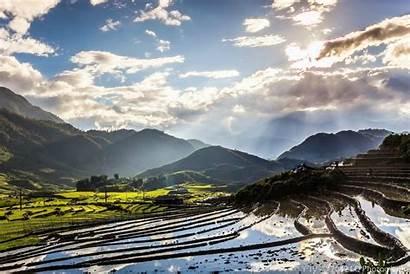 Vietnam Wallpapers Desktop Fields Sunset Giang Terraced