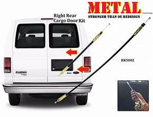 Meta Ford Econoline Van Handle Rear Cargo Door Latch Release Cable 2pcs Rk5002m