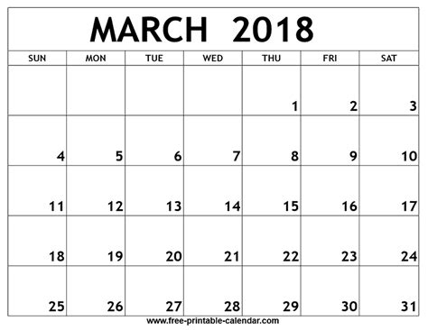 march  printable calendar  images monthly