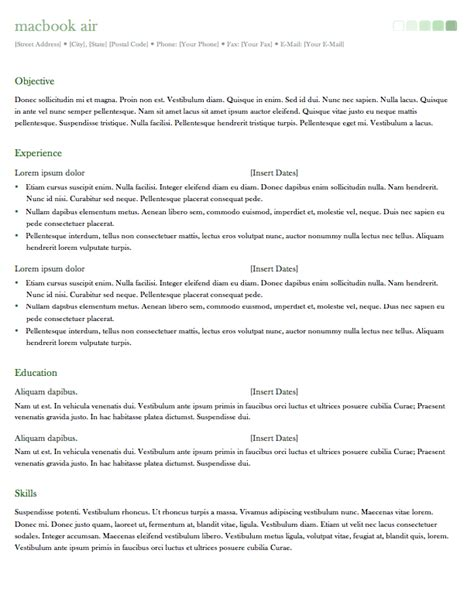 Office Mac Resume Templates by Resume Template For Office Mac 2011 Resumes Design