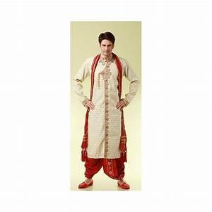 Tenue Blanche Homme : vente tenue traditionnelle indienne de mariage rouge beige et brod de fil dor pour homme ~ Melissatoandfro.com Idées de Décoration