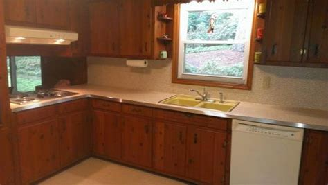 kitchens with pine cabinets s 1961 knotty pine kitchen before and after retro 6642