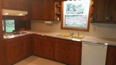 Amber's 1961 knotty pine kitchen before and after Retro