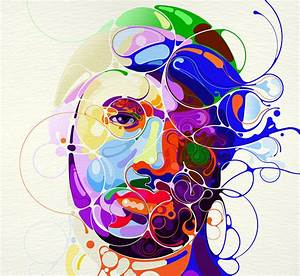 Colorful, Portraits, Emerge, From, Abstract, Lines