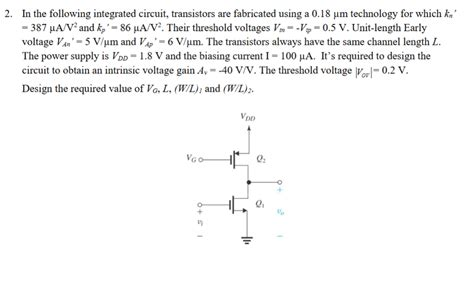 Solved The Following Integrated Circuit Transistors