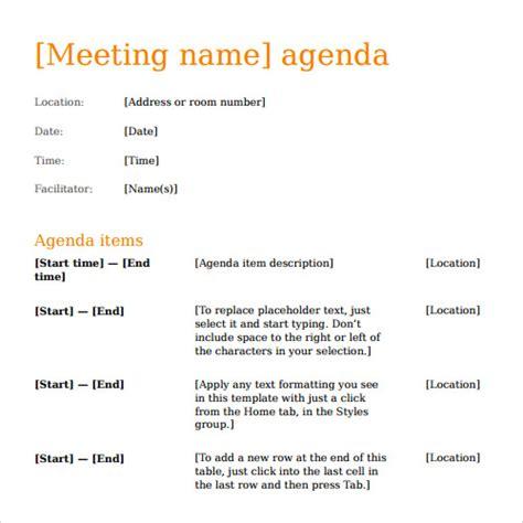 agenda templates sample templates