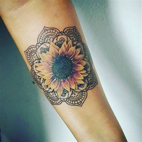 sunflower mandala tattoo ideas  pinterest
