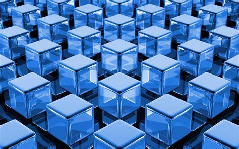 Download Wallpaper 1680x1050 3d Blue Cubes Hd Background