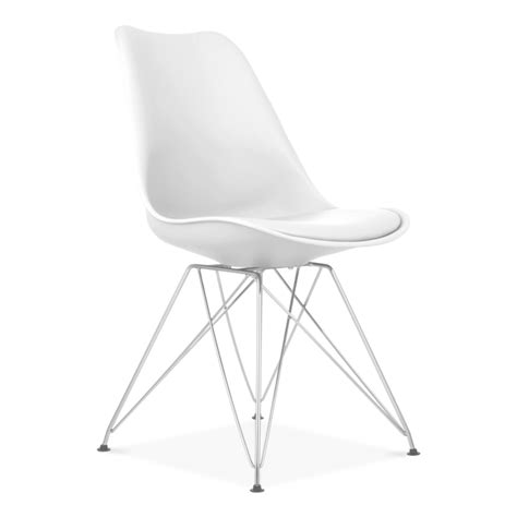 chaise eiffel eames inspired white dining chair with eiffel metal legs
