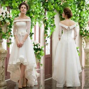 fashion 3 4 sleeve high low wedding dresses lace ball long With high low wedding dress with sleeves