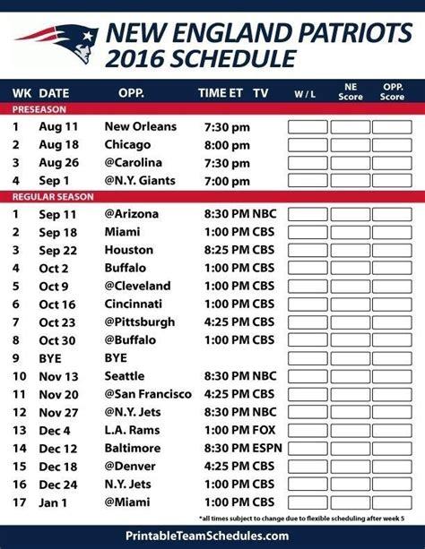 patriots schedule   printable  england