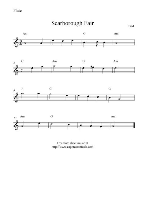 Scarborough Fair, Free Flute Sheet Music Notes