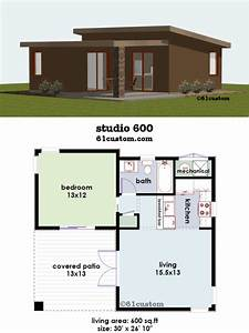 Studio600 small house plan 61custom contemporary for One bedroom home design ppics
