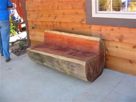 carved log bench redwood log bench  chainsaw jack