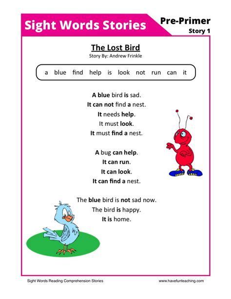 reading comprehension worksheet the lost bird 244 | free sight words reading comprehension 1