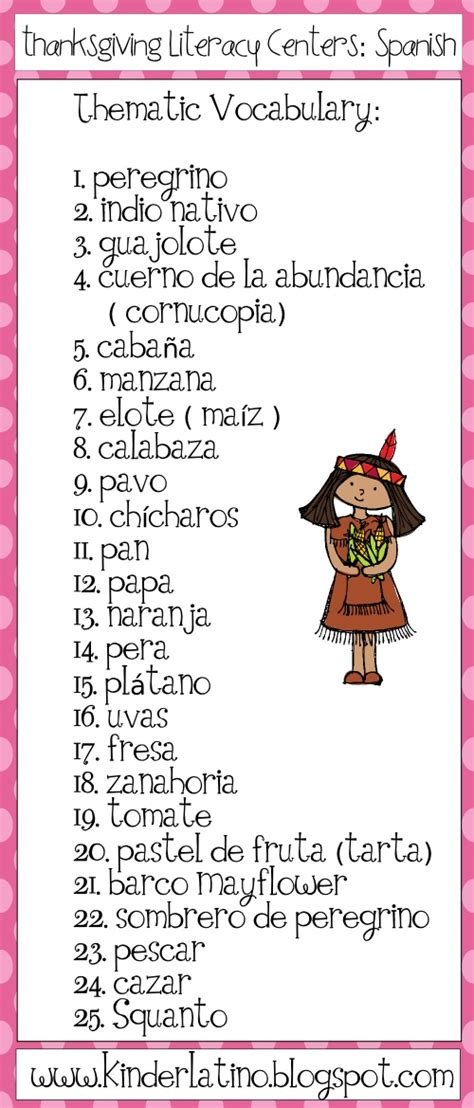 thematic vocabulary in spanish thanksgiving pinterest spanish thanksgiving and in spanish